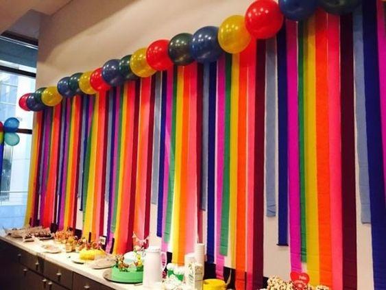decoracao papel crepom festa cortina