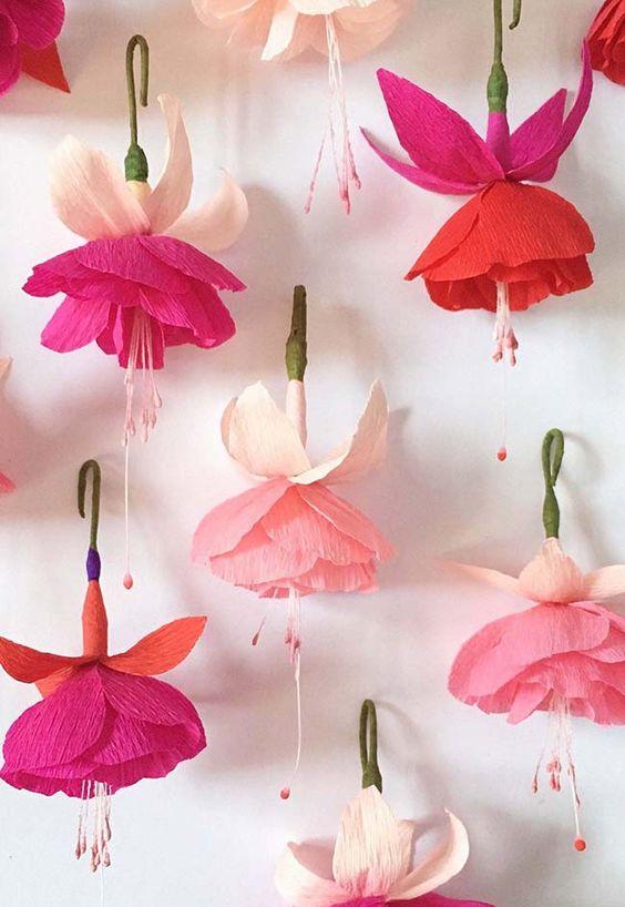 decoracao papel crepom festa flores 1