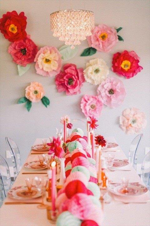 decoracao papel crepom festa flores