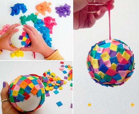 diy bola natal feltro colorido