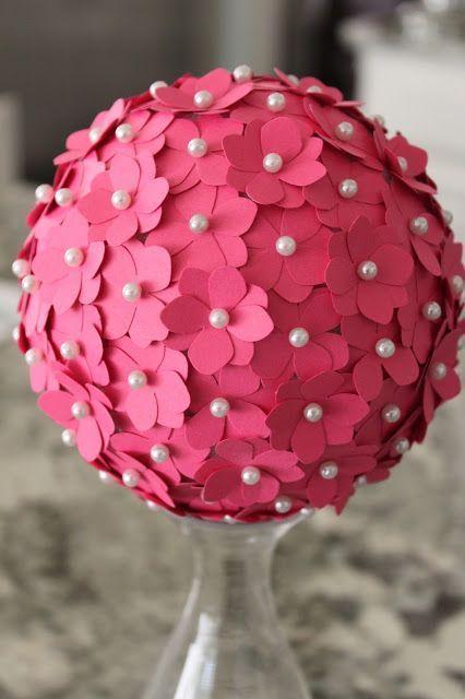 diy bola natal papel flores
