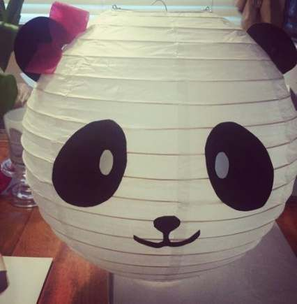 diy festa panda rosa lanterna