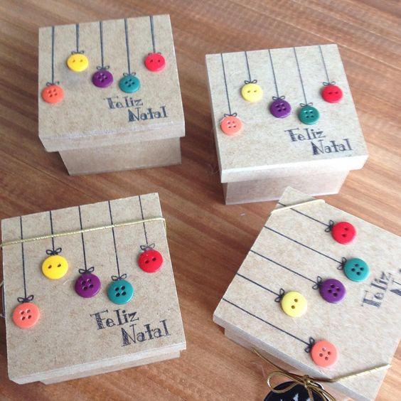 embrulho natal caixas madeira simples