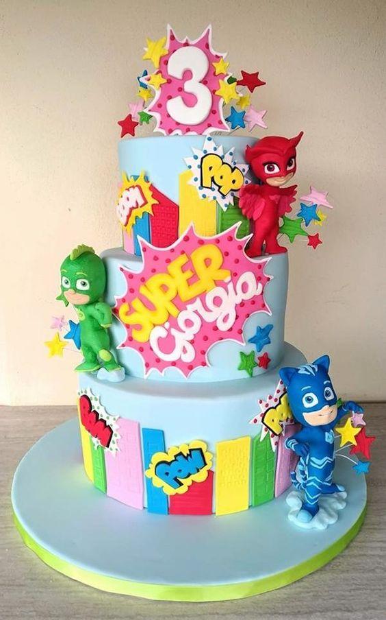 festa PJ masks bolo colorido