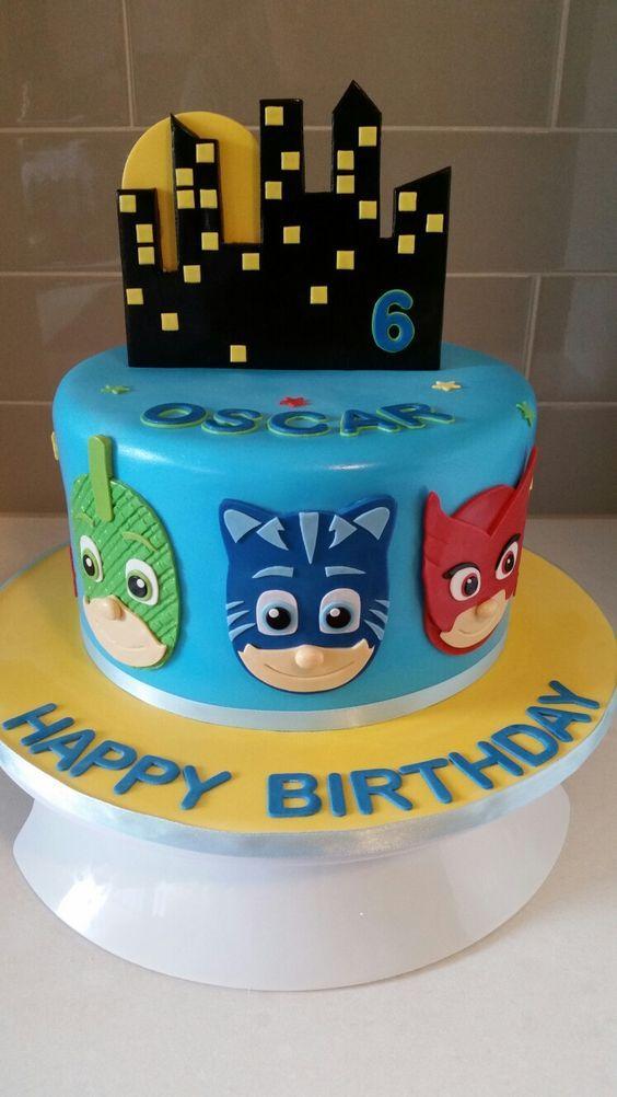 festa PJ masks bolo decorado