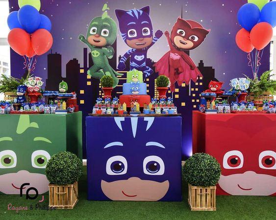 festa PJ masks decoracao colorida