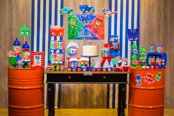 festa PJ masks decoracao mesa