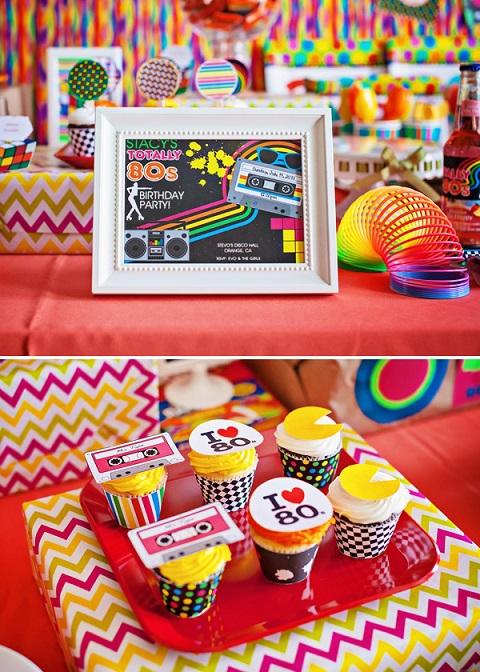 festa anos 80 decoracao mesa