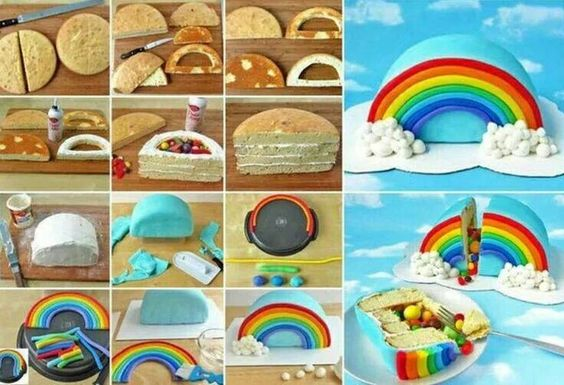 festa arco iris diy bolo pinata