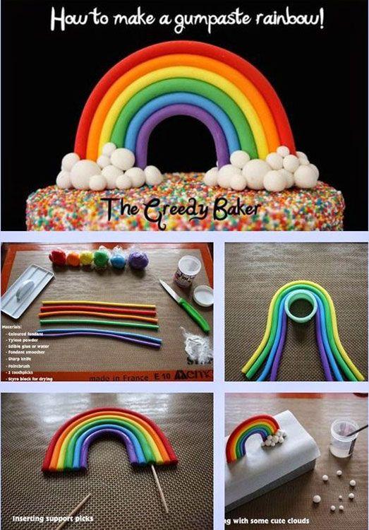 festa arco iris diy bolo