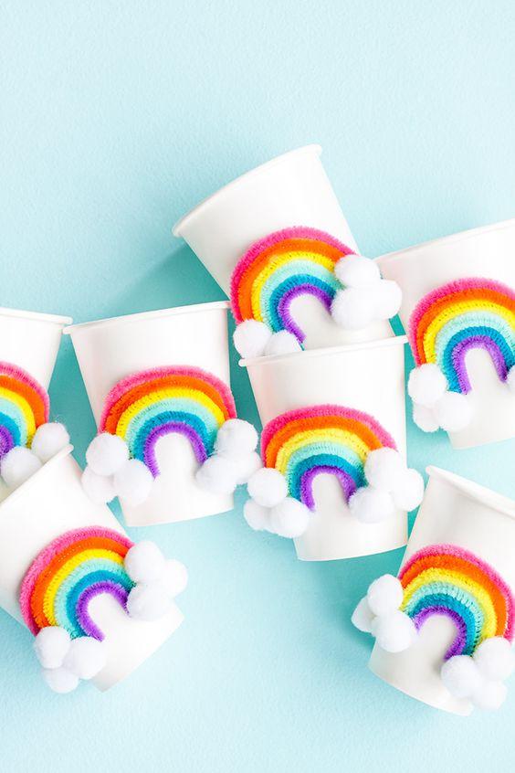festa arco iris diy copos