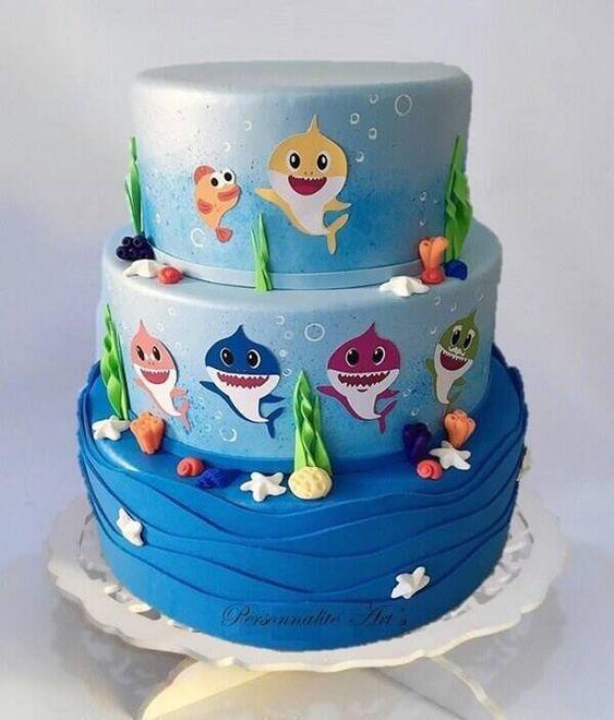 festa baby shark bolo 1