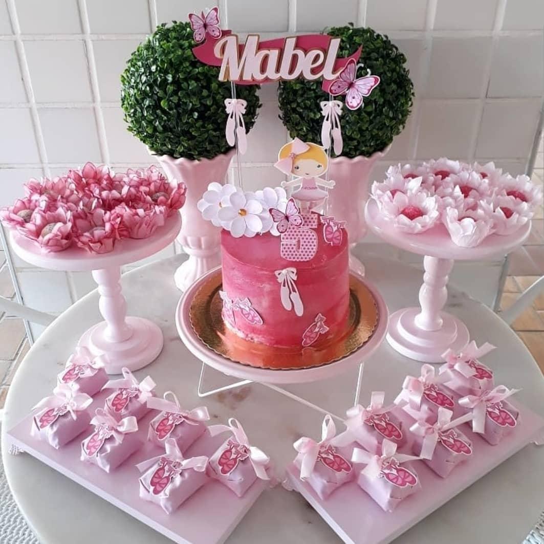 festa bailarina simples rosa
