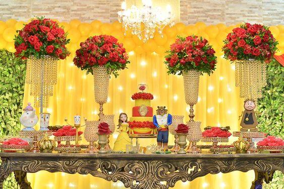 festa bela fera decoracao 1