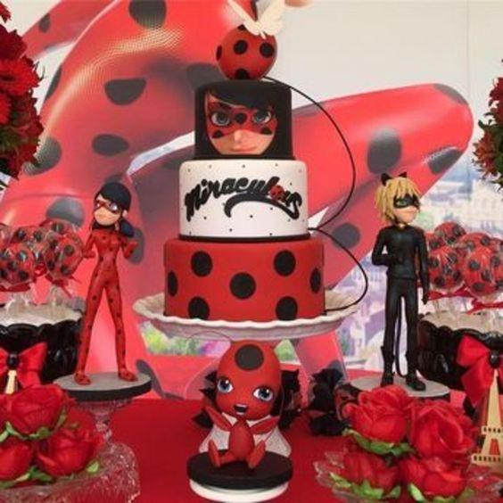 festa ladybug bolo