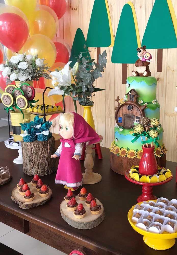 festa masha urso bolo inspiracao