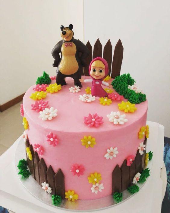 festa masha urso bolo rosa