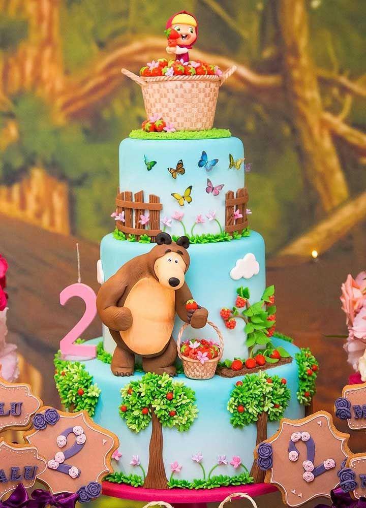 festa masha urso bolo