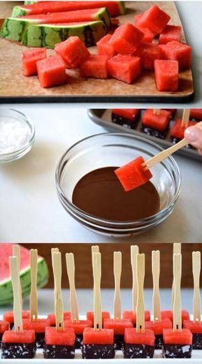 festa melancia servir melancia chocolate