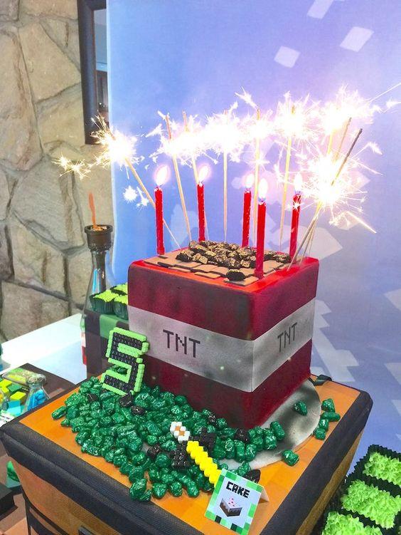 festa minecraft bolo 4