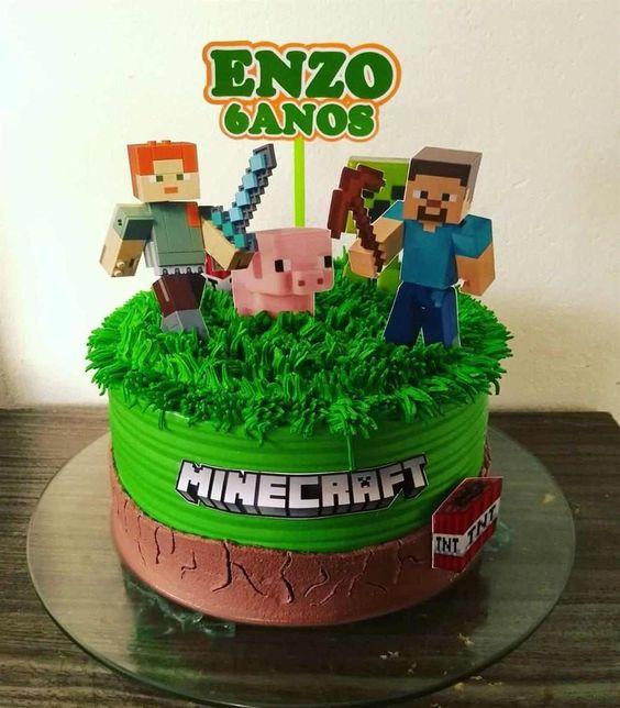 festa minecraft bolo