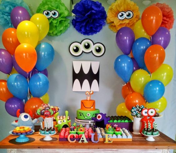 festa monstrinhos decoracao simples