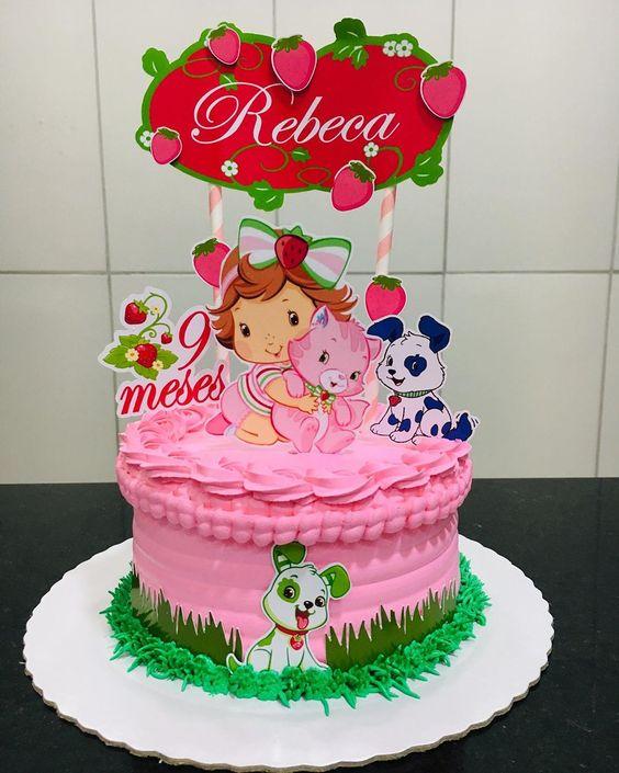 festa moranguinho baby bolo