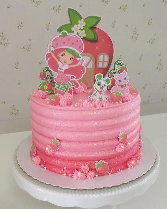 festa moranguinho bolo rosa