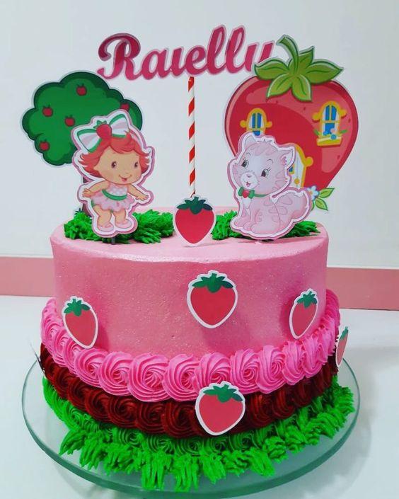 festa moranguinho bolo simples