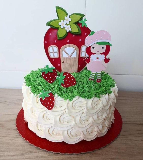 festa moranguinho bolo