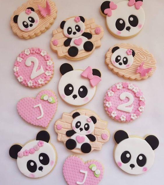 festa panda rosa docinhos bolachas