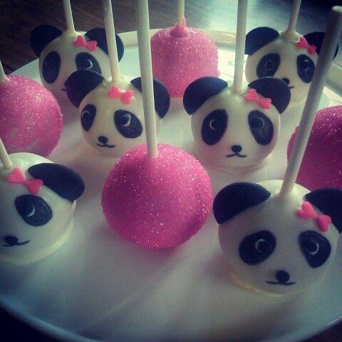 festa panda rosa docinhos palito