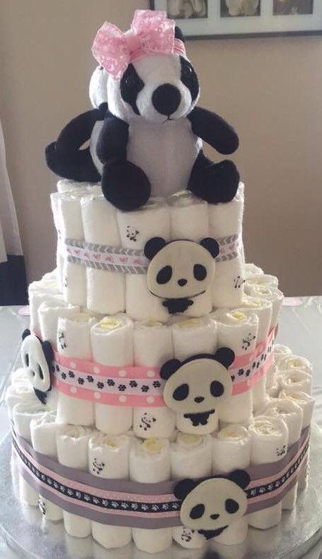 festa panda rosa ideias bolo fraldas