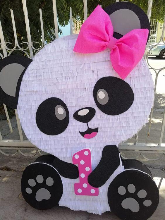 festa panda rosa ideias pinata