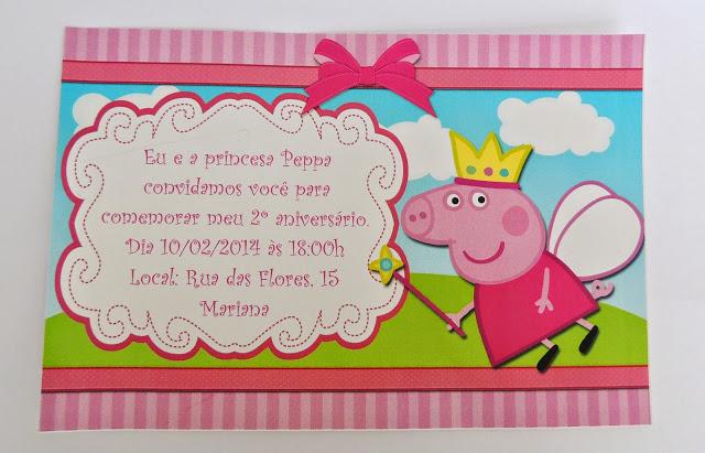festa peppa pig convite simples