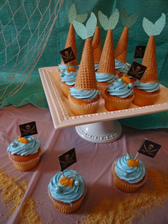 festa sereia comidinha cupcakes