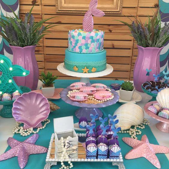festa sereia decoracao mesa