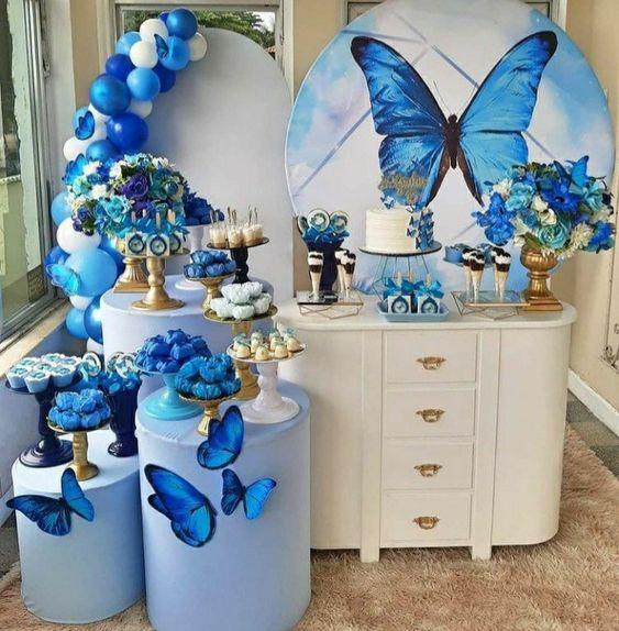 festa tema borboleta azul
