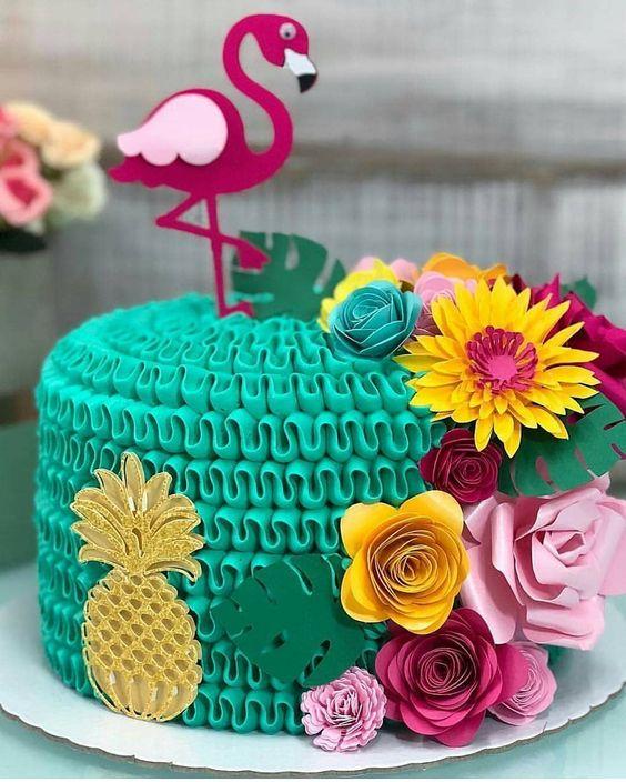festa tropical bolo flamingo