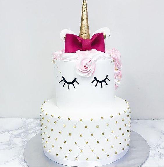 festa unicornio bolo branco
