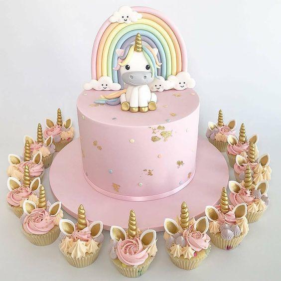 festa unicornio bolo cupcakes