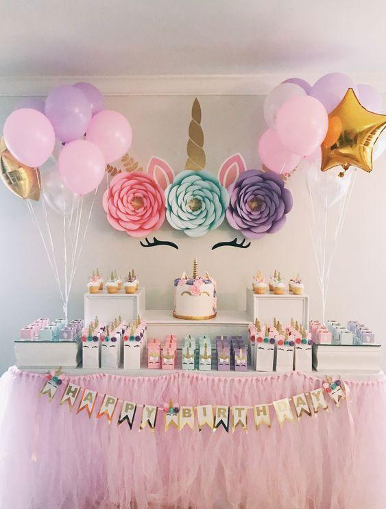 festa unicornio decoracao simples
