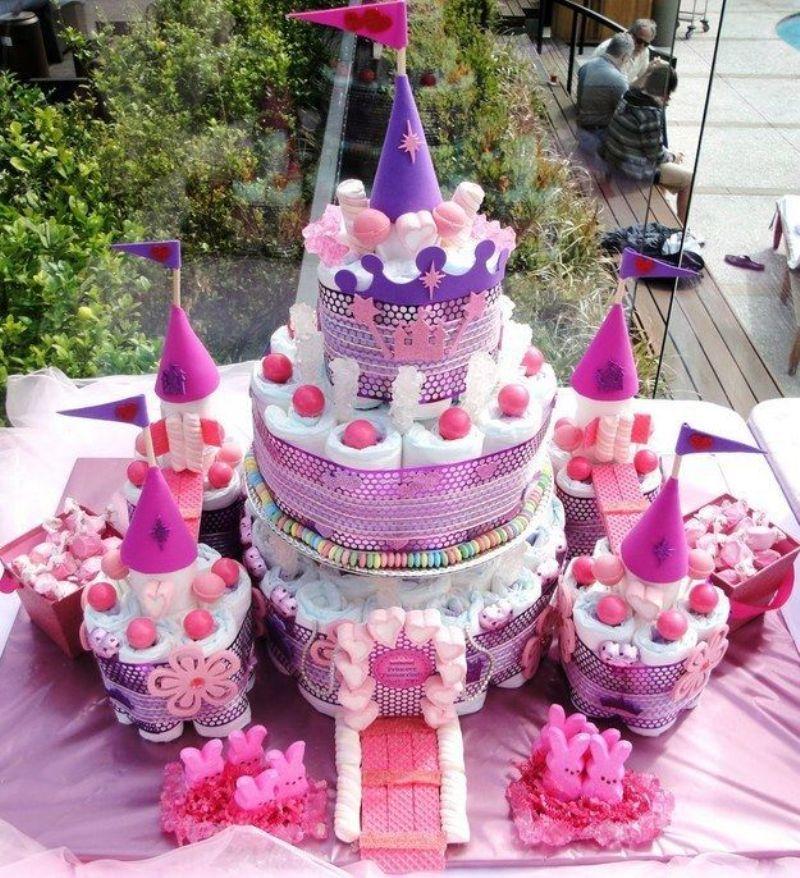 ideias criativas cha bebe bolo fraldas menina