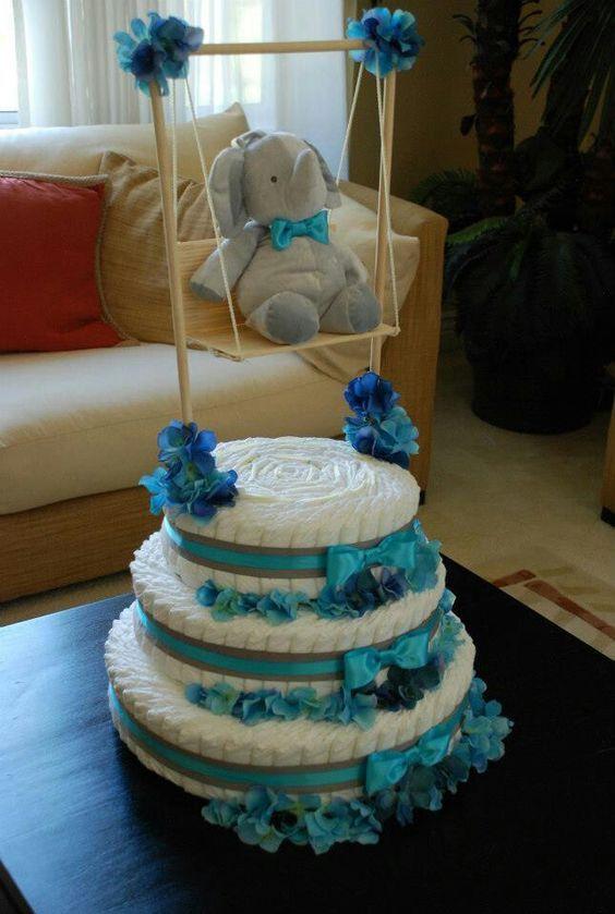 ideias criativas cha bebe bolo fraldas menino