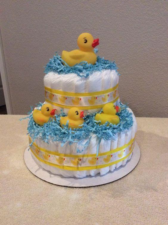 ideias criativas cha bebe bolo fraldas pato