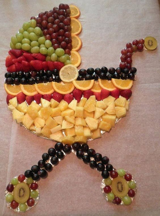 ideias criativas cha bebe comida fruta