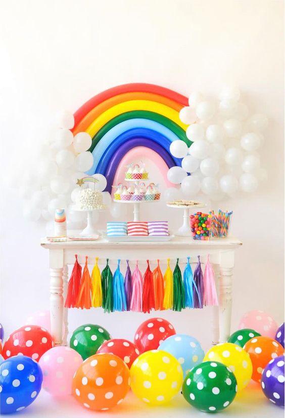 ideias decoracao mesversario menina arco iris