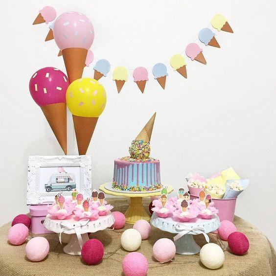 ideias decoracao mesversario menina sorvete