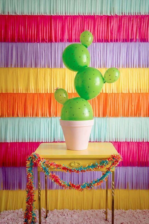 ideias para festa cactos baloes