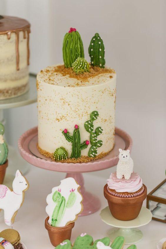 ideias para festa cactos bolo decorado